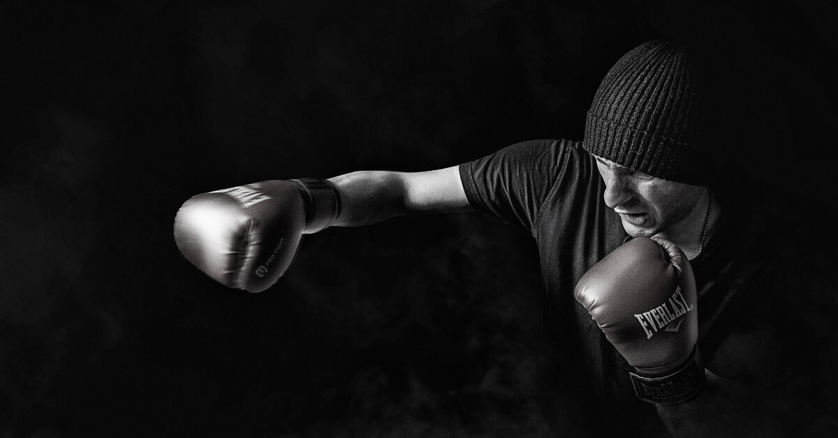 Fighter with boxing gloves